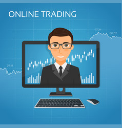Trading online concept with businessman on the vector