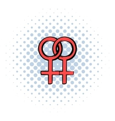 Two female gender symbols icon comics style vector