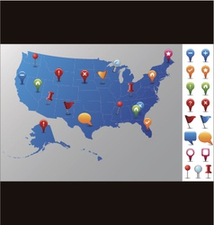 Usa map with gps icons vector