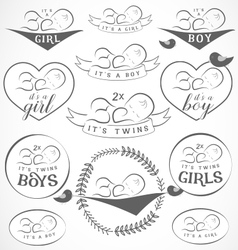 Vintage Baby Girl and Boy Badge Set vector