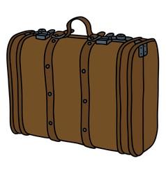 Vintage leather suitcase vector