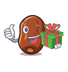 With gift dates fruit mascot cartoon vector