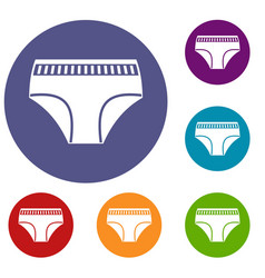 woman cotton panties icons set vector image