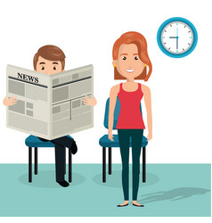 young couple in the waiting room avatars vector image