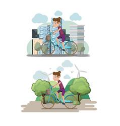 Bicycle woman ride city eco vector