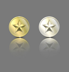 gold and silver stars on a coin with reflection vector image