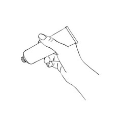 hand with cosmetic cream tube vector image
