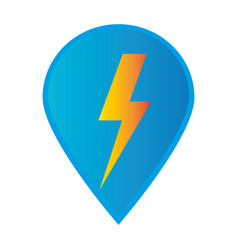 mark icon pointer gps with lightning icon vector image