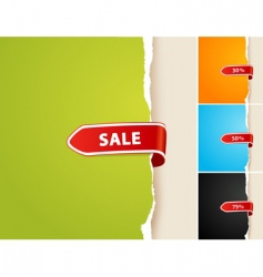 set of 4 teared papers with sale bar vector image vector image