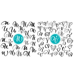 set of hand drawn calligraphy letter u v vector image vector image
