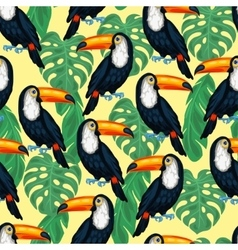 Tropical birds seamless pattern with toucans and vector image vector image