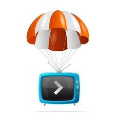 Tv and parachute vector image vector image
