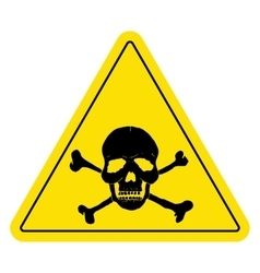 Yellow danger sign with skull vector image vector image