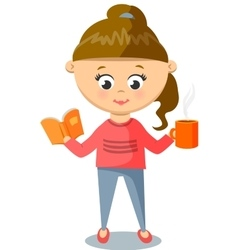 Girl in Pink Sweater Cute With Cup And Book vector image vector image