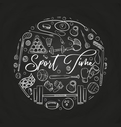 hand drawn sports things on blackboard vector image vector image