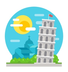 Leaning tower of Pisa flat design landmark vector image vector image