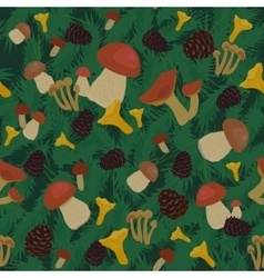 Mushrooms and Cones Seamless Pattern vector image vector image