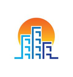 sunset skyscrapers building contruction logo vector image