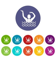 Swimmer in a swimming pool set icons vector image