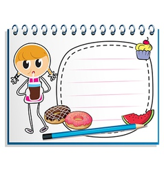 A notebook with a drawing of a girl with a juice vector image vector image