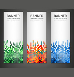 Abstract square pixel mosaic banners set Vertical vector image