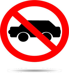 Ban cars sign flat icon vector image vector image