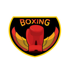 boxing logo gloves and wings emblem for sports vector image