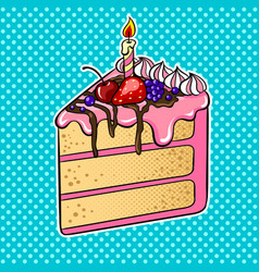 cake with candle pop art vector image vector image
