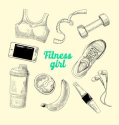 woman healthy lifestyle hand drawn fitness vector image vector image
