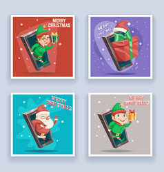 cute santa claus with gift bag elf male female vector image vector image