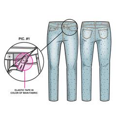 front and back sides of pants vector image