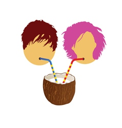girl and boy drink coconut milk part two vector image vector image