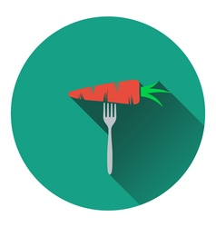 Icon of Diet carrot on fork vector image
