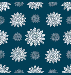 monochrome doodle ethnic flowers seamless pattern vector image