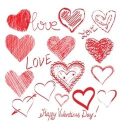 Set of hand drawn hearts vector image vector image