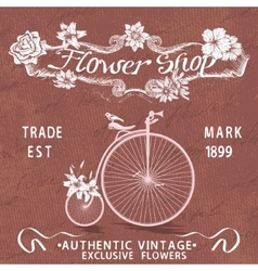 Vintage poster for flower shop design with old vector image