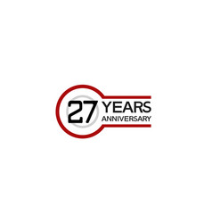 27 years anniversary with circle outline red vector