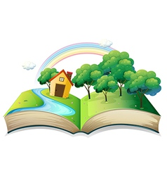 A book with a story of a house at the forest vector