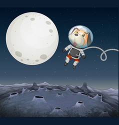 A dog exploring in space vector
