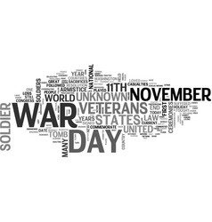 A short history lesson on veterans day text word vector