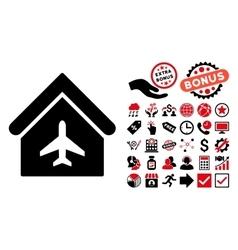 Aircraft Hangar Flat Icon with Bonus vector