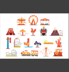 amusement park elements set funfair attraction vector image