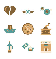 Assembly flat icons coffee cup coffee maker vector