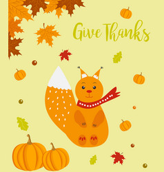 Autumn background with cute squirrel and text vector
