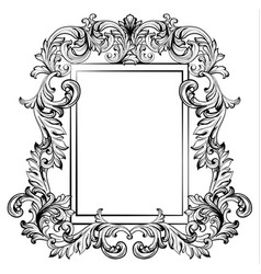 Baroque frame mirror decor for invitation wedding vector