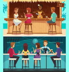 Beach bar and evening bar horizontal banners vector