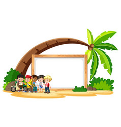 blank sign template with kids on beach vector image