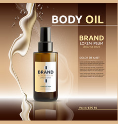 Body oil cosmetic ads template hydrating body vector