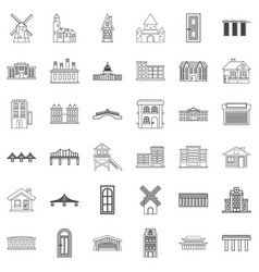 Bungalow icons set outline style vector