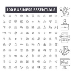 business essentials editable line icons 100 vector image